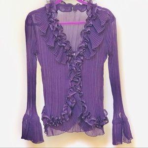 Purple Ruffled Vtg pinup Secretary blouse SM/MED
